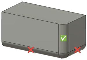 Pièce dessinée en 3D par CAO qui indique ou mettre et ne pas mettre des congés et arrondis