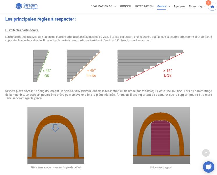 Capture d'écran de la page de guide de conception d'impression 3D