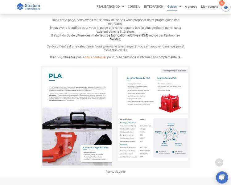Capture d'écran de la page du guide des matériaux d'impression 3D