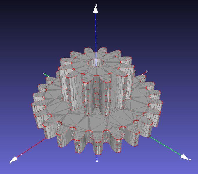 Image du maillage 3D sous forme de facettes d'un engrenage sur un logiciel 3D