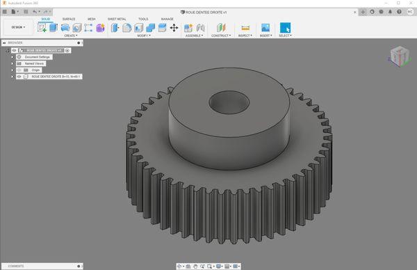 Capture d'écran du logicielle de dessin 3D CAO Fusion 360