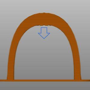 Schéma représentant une pièce en arche imprimée en 3D sans support et donc qui s'affaisse