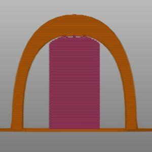 Schéma représentant une pièce en arche imprimée en 3D avec support et donc qui est solide
